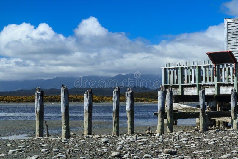 Λιμνοθάλασσα Okarito, δυτική ακτή, Νέα Ζηλανδία στοκ φωτογραφία
