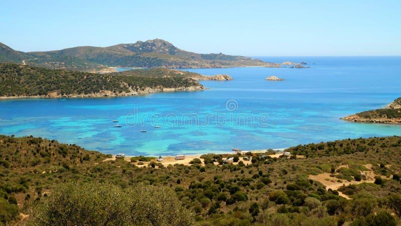 Λιμνοθάλασσα Capo Malfatano στη Σαρδηνία, Ιταλία στοκ φωτογραφίες με δικαίωμα ελεύθερης χρήσης
