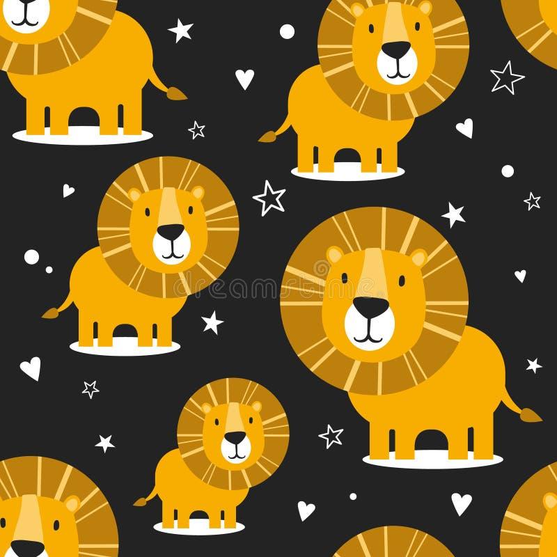Λιοντάρια, καρδιές και αστέρια, ζωηρόχρωμο άνευ ραφής σχέδιο ελεύθερη απεικόνιση δικαιώματος