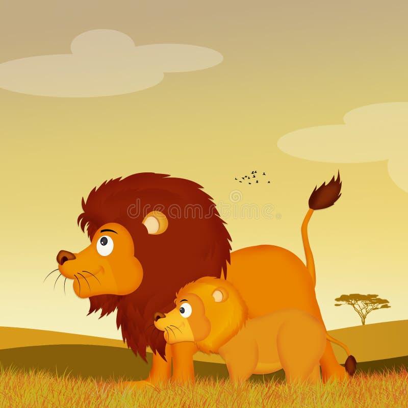 Λιοντάρια στο αφρικανικό τοπίο διανυσματική απεικόνιση