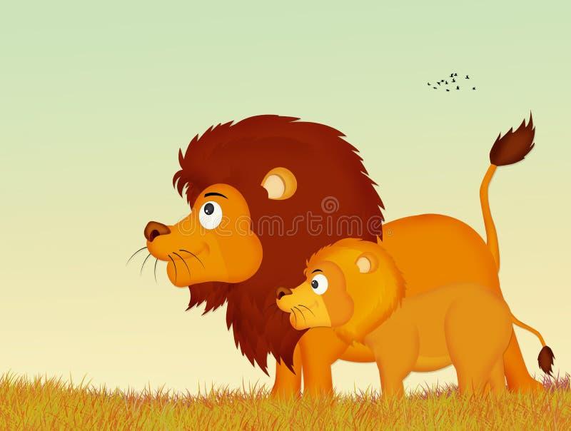Λιοντάρια στο ηλιοβασίλεμα ελεύθερη απεικόνιση δικαιώματος