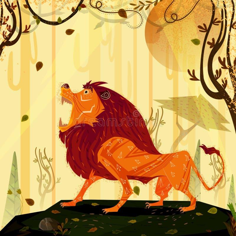 Λιοντάρι άγριων ζώων στο δασικό υπόβαθρο ζουγκλών απεικόνιση αποθεμάτων