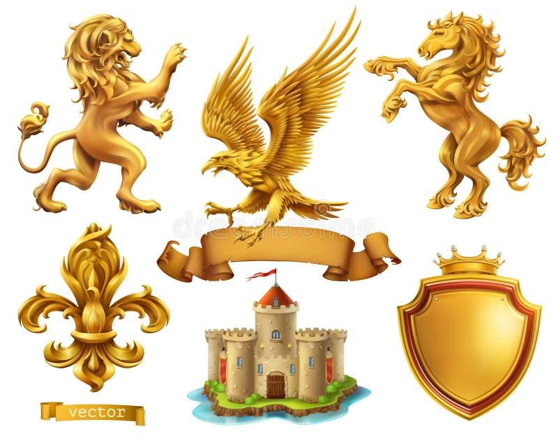 Λιοντάρι, άλογο, αετός, κρίνος Χρυσά εραλδικά στοιχεία τρισδιάστατο διανυσματικό σύνολο εικονιδίων απεικόνιση αποθεμάτων