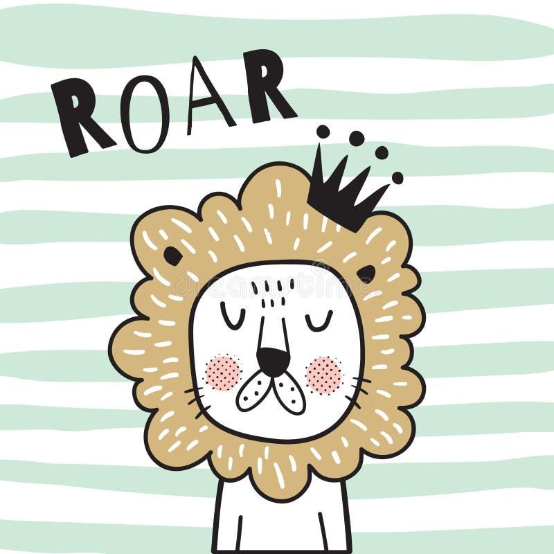 Λιοντάρι βρυχηθμού ελεύθερη απεικόνιση δικαιώματος