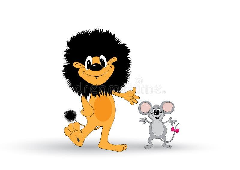Λιοντάρι και ποντίκι διανυσματική απεικόνιση
