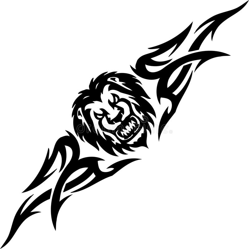 Λιοντάρι και συμμετρικά tribals - διανυσματική απεικόνιση. διανυσματική απεικόνιση