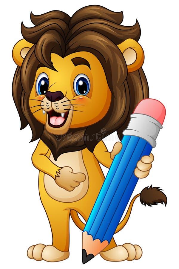 Λιοντάρι κινούμενων σχεδίων που κρατά ένα μολύβι απεικόνιση αποθεμάτων