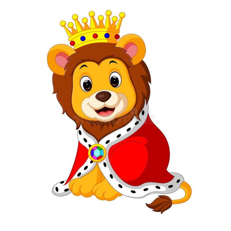 Λιοντάρι κινούμενων σχεδίων στην εξάρτηση βασιλιάδων απεικόνιση αποθεμάτων