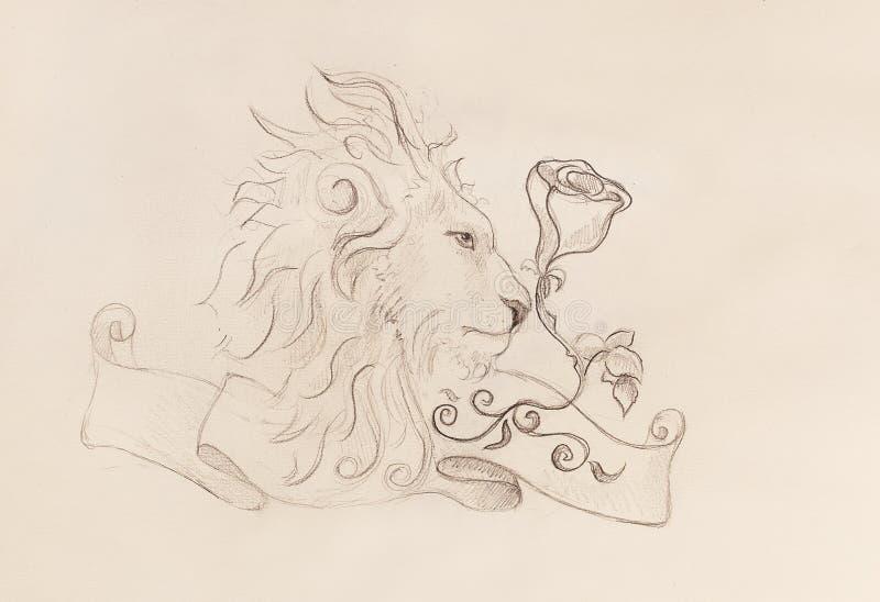 Λιοντάρι με ροδαλό και κορδέλλα με τη διακόσμηση, αρχικό σχέδιο, σκίτσο μολυβιών σε χαρτί ελεύθερη απεικόνιση δικαιώματος