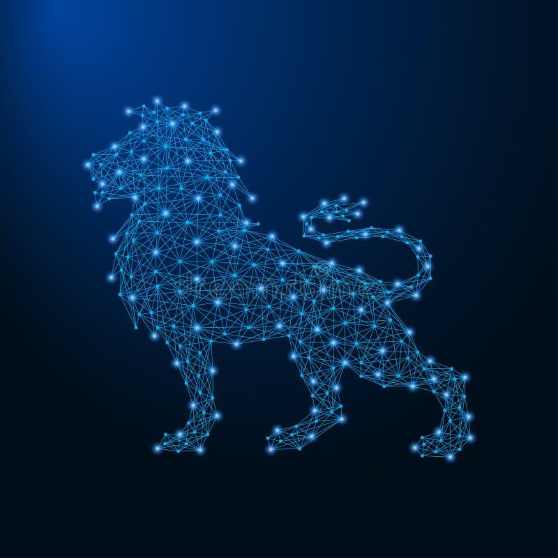 Λιοντάρι που γίνεται από τα σημεία και τις γραμμές, polygonal πλέγμα wireframe, χαμηλή πολυ ζωική απεικόνιση διανυσματική απεικόνιση