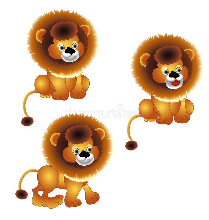 Λιοντάρι που στέκεται και που κάθεται, σχέδιο κινούμενων σχεδίων διανυσματική απεικόνιση