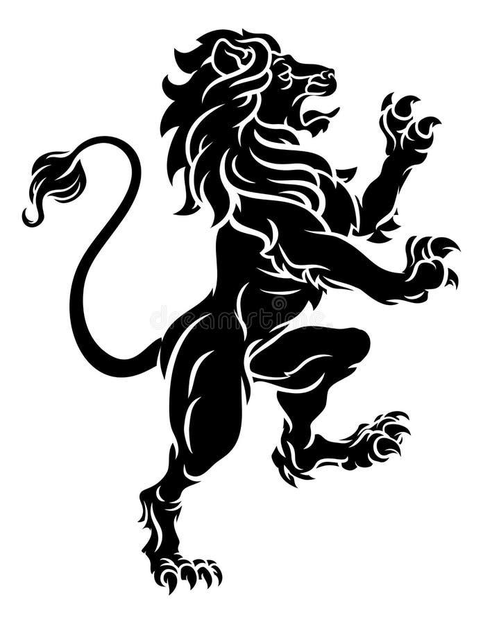 Λιοντάρι που στέκεται τη αχαλίνωτη εραλδική κάλυψη CREST των όπλων ελεύθερη απεικόνιση δικαιώματος