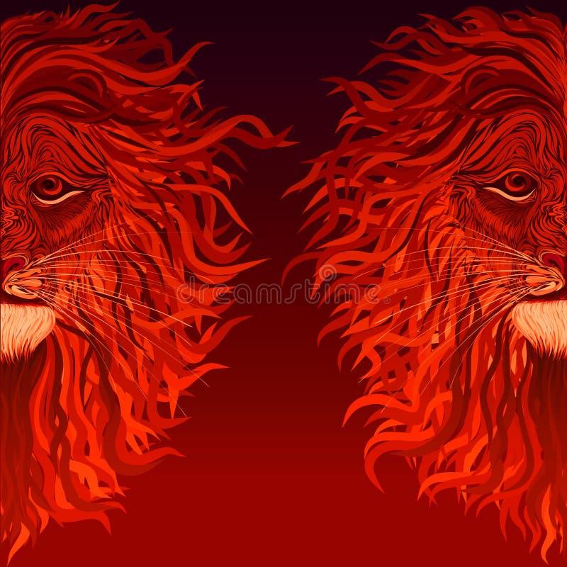 Λιοντάρι πυρκαγιάς με έναν Μάιν όπως μια φλόγα, κόκκινο υπόβαθρο με ένα σχέδιο ελεύθερη απεικόνιση δικαιώματος