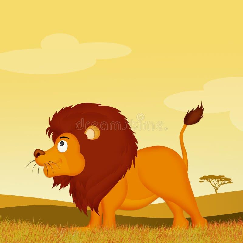 Λιοντάρι στο αφρικανικό τοπίο διανυσματική απεικόνιση