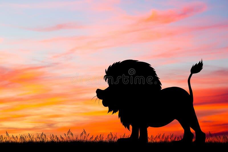 Λιοντάρι στο ηλιοβασίλεμα απεικόνιση αποθεμάτων