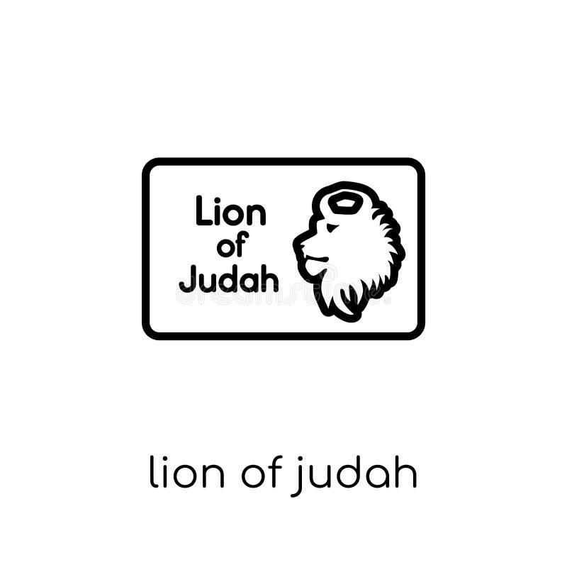 Λιοντάρι του εικονιδίου του Judah Καθιερώνον τη μόδα σύγχρονο επίπεδο γραμμικό διανυσματικό λιοντάρι Jud ελεύθερη απεικόνιση δικαιώματος
