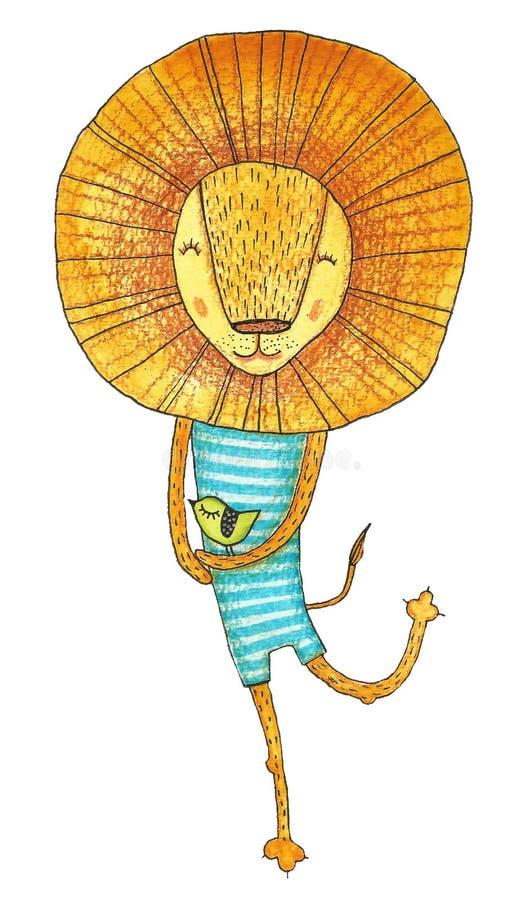 Λιοντάρι Watercolor που απομονώνεται στο λευκό στοκ εικόνες με δικαίωμα ελεύθερης χρήσης