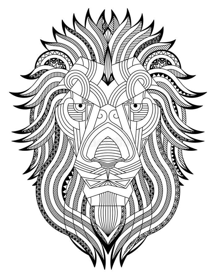 Λιοντάρι zentangle στοκ εικόνες