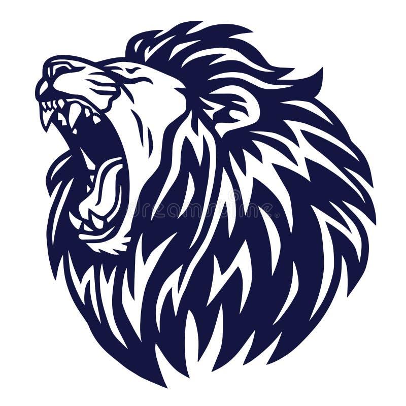 Λιονταριών βρυχηθμού αθλητική μασκότ εικονιδίων λογότυπων διανυσματική ελεύθερη απεικόνιση δικαιώματος