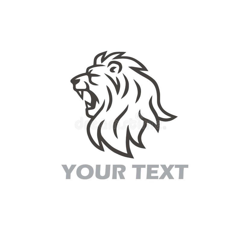 Λιονταριών επικεφαλής πρότυπο λογότυπων βρυχηθμού διανυσματικό διανυσματική απεικόνιση