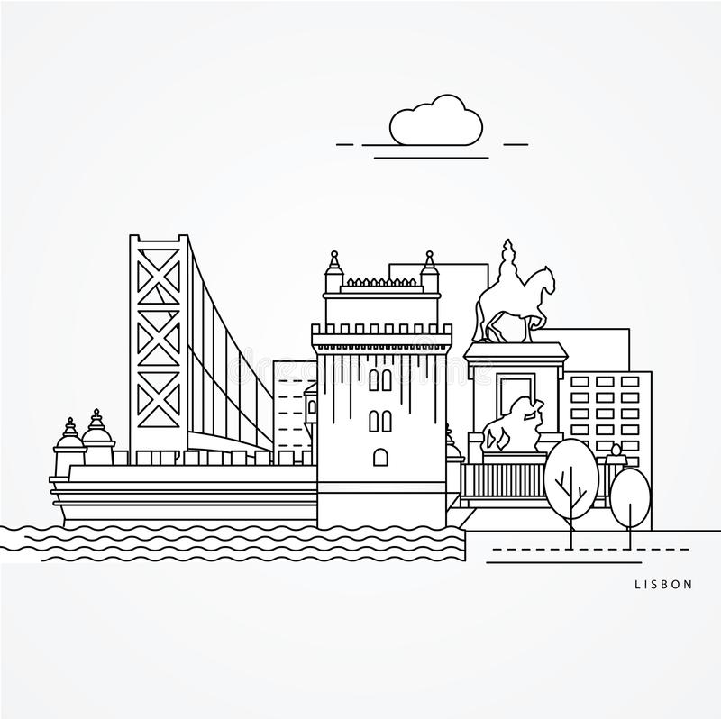 Λισσαβώνα Πορτογαλία διανυσματική απεικόνιση