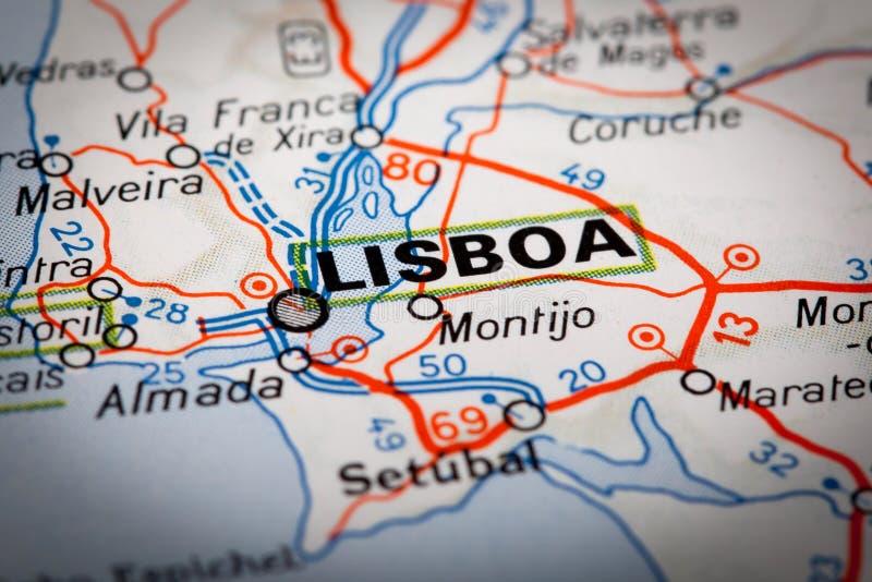 Λισσαβώνα σε έναν οδικό χάρτη στοκ φωτογραφίες με δικαίωμα ελεύθερης χρήσης