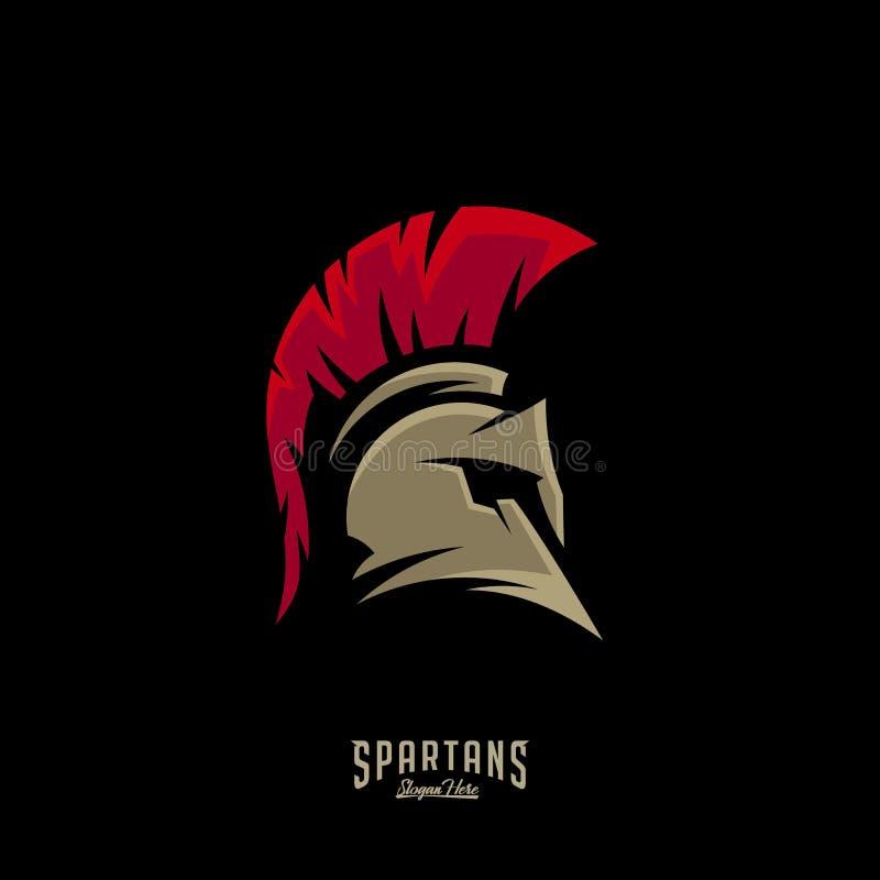 Λιτό διάνυσμα λογότυπων, διανυσματικό, λιτό πρότυπο λογότυπων κρανών λογότυπων της Σπάρτης, σύμβολο εικονιδίων ελεύθερη απεικόνιση δικαιώματος