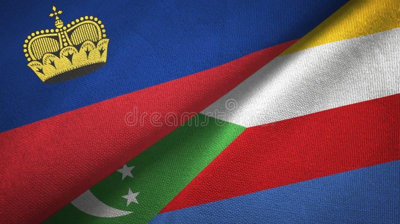 Λιχτενστάιν και Κομόρες δύο υφαντικό ύφασμα σημαιών, σύσταση υφάσματος διανυσματική απεικόνιση