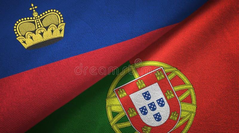 Λιχτενστάιν και Πορτογαλία δύο υφαντικό ύφασμα σημαιών, σύσταση υφάσματος ελεύθερη απεικόνιση δικαιώματος
