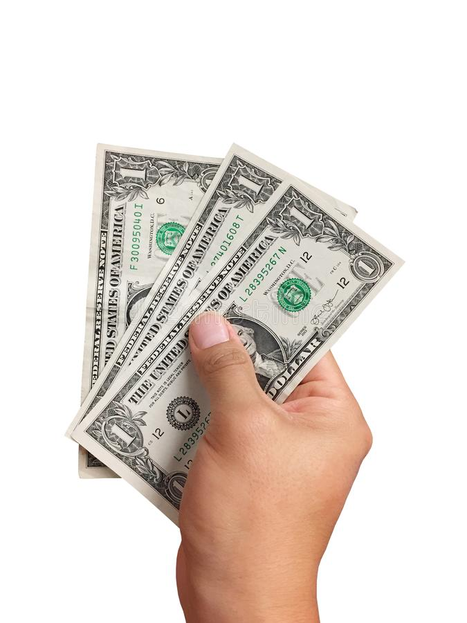 Λογαριασμοί δολαρίων εκμετάλλευσης χεριών στο άσπρο υπόβαθρο στοκ φωτογραφία με δικαίωμα ελεύθερης χρήσης