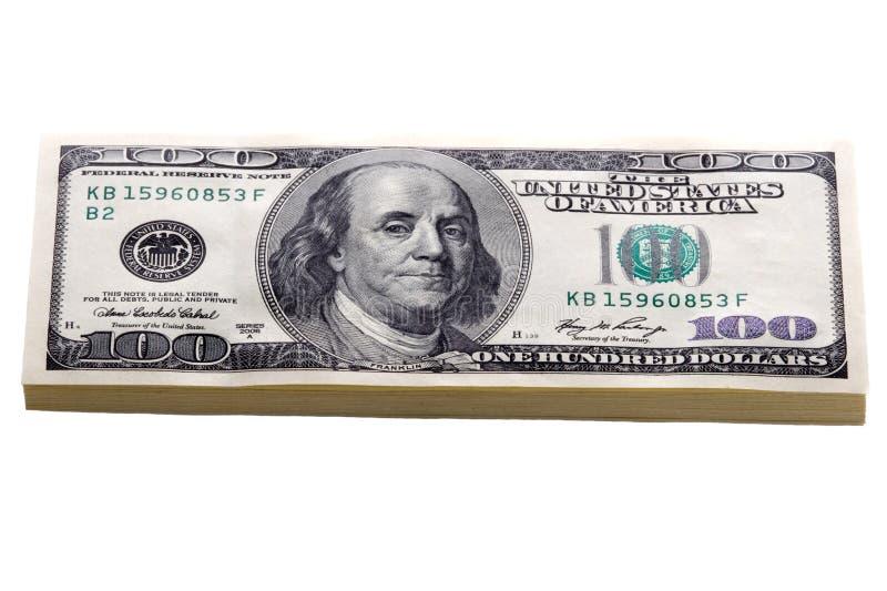 Λογαριασμοί εκατό δολαρίων που απομονώνονται στοκ φωτογραφία με δικαίωμα ελεύθερης χρήσης