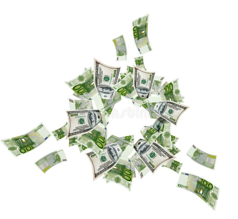Λογαριασμοί ευρώ και δολαρίων στοκ φωτογραφία με δικαίωμα ελεύθερης χρήσης