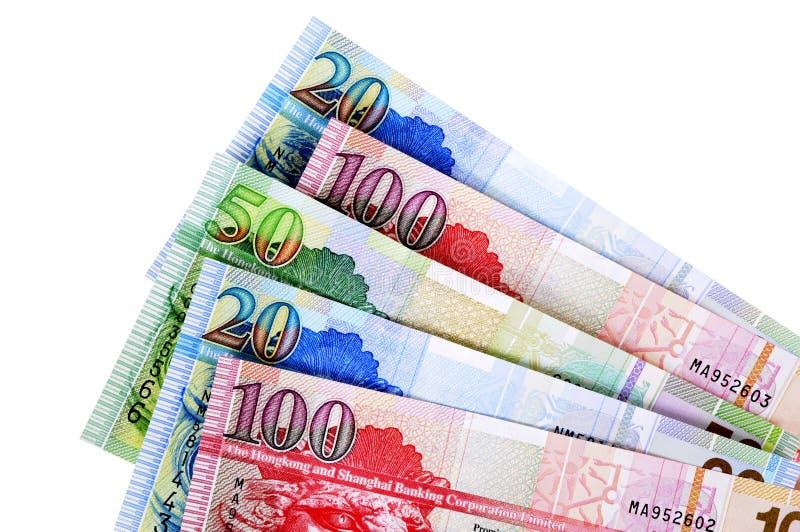 Λογαριασμοί νομίσματος δολαρίων Χονγκ Κονγκ που απομονώνονται στο λευκό στοκ εικόνα με δικαίωμα ελεύθερης χρήσης