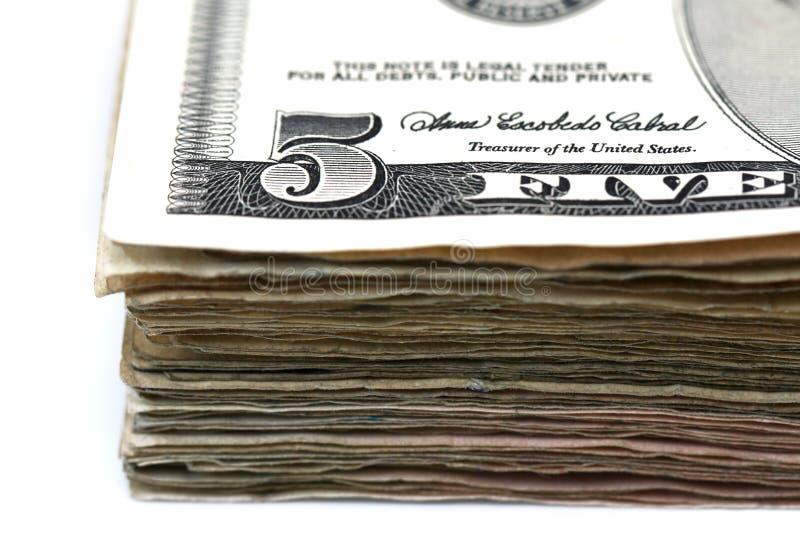 Λογαριασμοί πέντε δολαρίων στοκ εικόνες