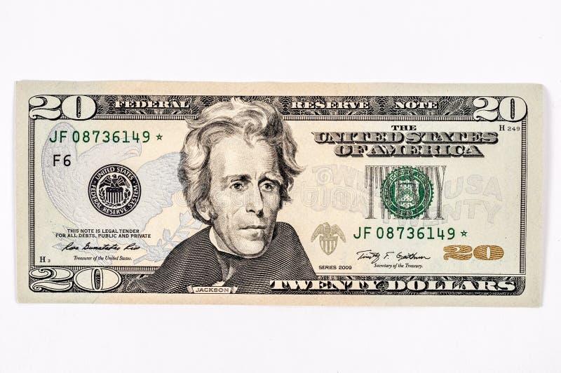 Λογαριασμός 20 αμερικανικών δολαρίων στοκ φωτογραφίες