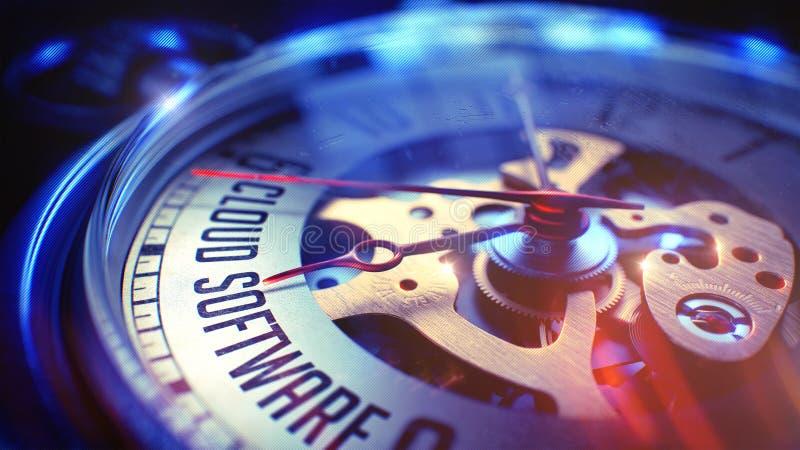 Λογισμικό σύννεφων - που διατυπώνει στο εκλεκτής ποιότητας ρολόι τσεπών τρισδιάστατος στοκ φωτογραφίες με δικαίωμα ελεύθερης χρήσης