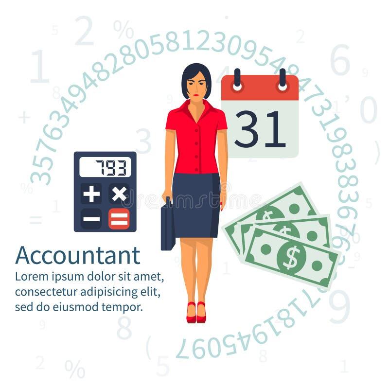 Λογιστής, επιχειρηματίας Καθορισμένο επίπεδο σχέδιο εικονιδίων διανυσματική απεικόνιση