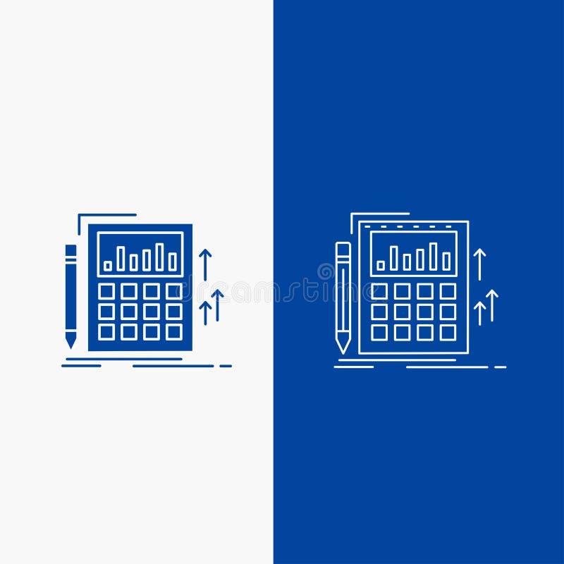 Λογιστική, λογιστικός έλεγχος, τραπεζικές εργασίες, υπολογισμός, γραμμή υπολογιστών και κουμπί Ιστού Glyph στο μπλε κάθετο έμβλημ ελεύθερη απεικόνιση δικαιώματος