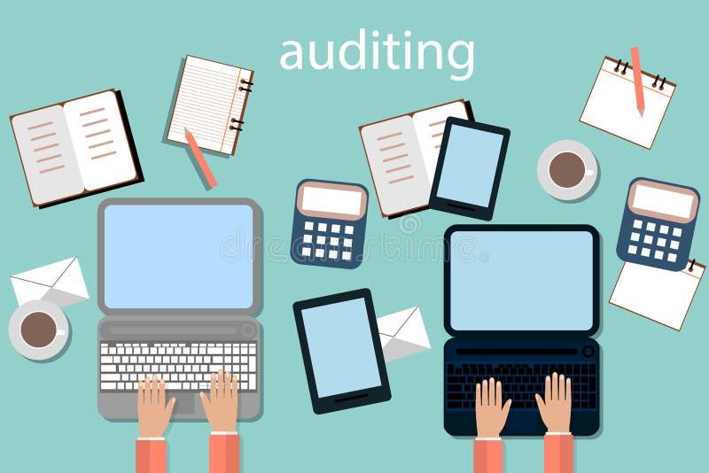 Λογιστική, φόροι, ανάλυση λογιστικού ελέγχου, υπολογισμού και στοιχείων, που εκθέτει τις έννοιες Επίπεδο σχέδιο απεικόνισης διανυσματική απεικόνιση
