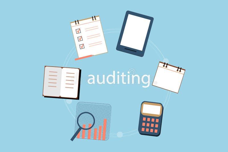 Λογιστική, φόροι, λογιστικός έλεγχος, υπολογισμός, ανάλυση στοιχείων και υποβολή εκθέσεων των εννοιών Επίπεδο σχέδιο απεικόνισης ελεύθερη απεικόνιση δικαιώματος