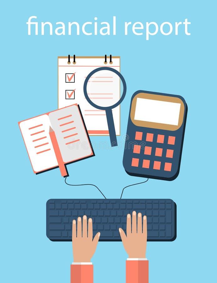 Λογιστική, φόροι, λογιστικός έλεγχος, υπολογισμός, ανάλυση στοιχείων, που εκθέτει τις έννοιες Επίπεδο σχέδιο απεικόνισης διανυσματική απεικόνιση