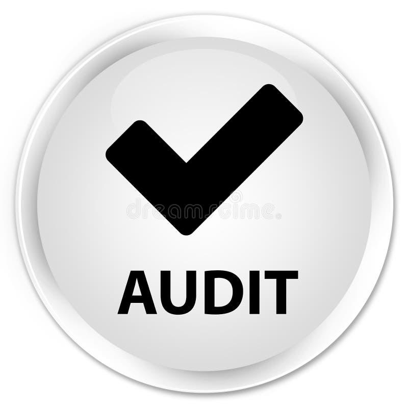 Λογιστικός έλεγχος (επικυρώστε το εικονίδιο) άσπρο στρογγυλό κουμπί ασφαλίστρου διανυσματική απεικόνιση