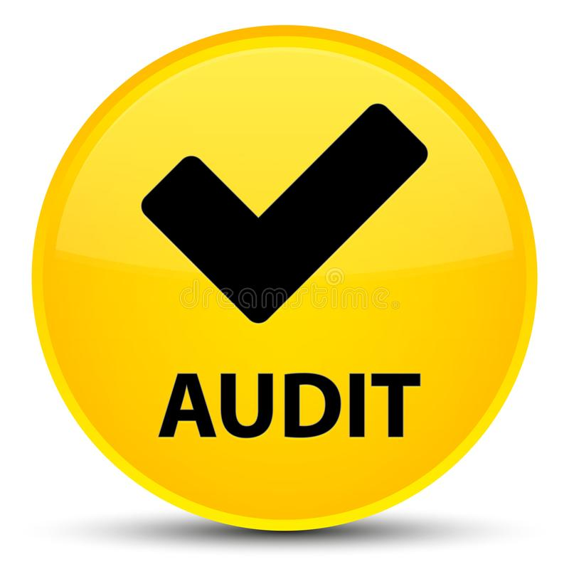 Λογιστικός έλεγχος (επικυρώστε το εικονίδιο) ειδικό κίτρινο στρογγυλό κουμπί ελεύθερη απεικόνιση δικαιώματος
