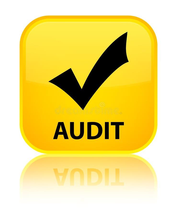 Λογιστικός έλεγχος (επικυρώστε το εικονίδιο) ειδικό κίτρινο τετραγωνικό κουμπί απεικόνιση αποθεμάτων
