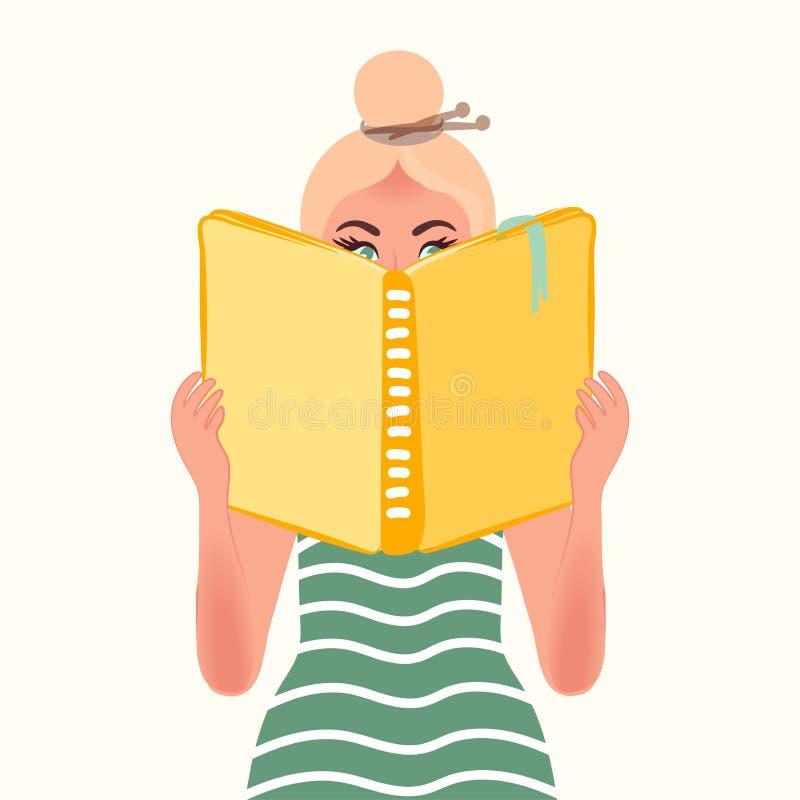 Κορίτσι ανάγνωσης Λογοτεχνία και νέα γνώση, σκέψεις, επεκτειμένος ορίζοντες και νοημοσύνη r διανυσματική απεικόνιση