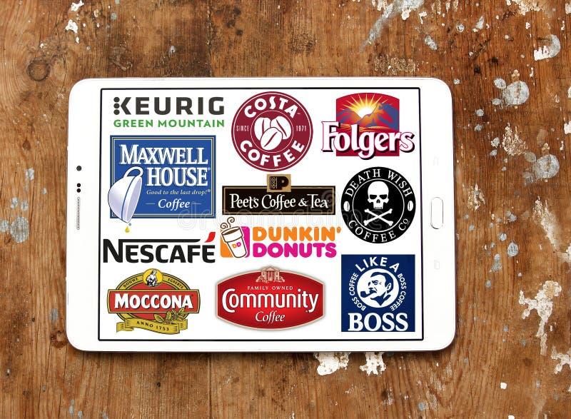 Λογότυπα εικονιδίων εμπορικών σημάτων καφέ στοκ φωτογραφίες με δικαίωμα ελεύθερης χρήσης
