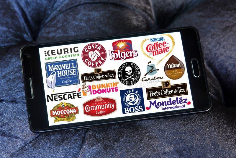 Λογότυπα εικονιδίων εμπορικών σημάτων καφέ στοκ φωτογραφία