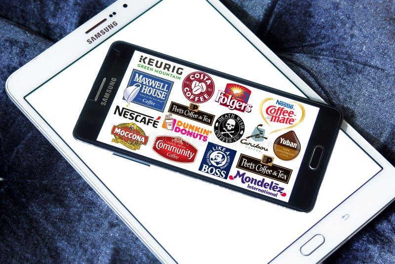 Λογότυπα εικονιδίων εμπορικών σημάτων καφέ στοκ εικόνες