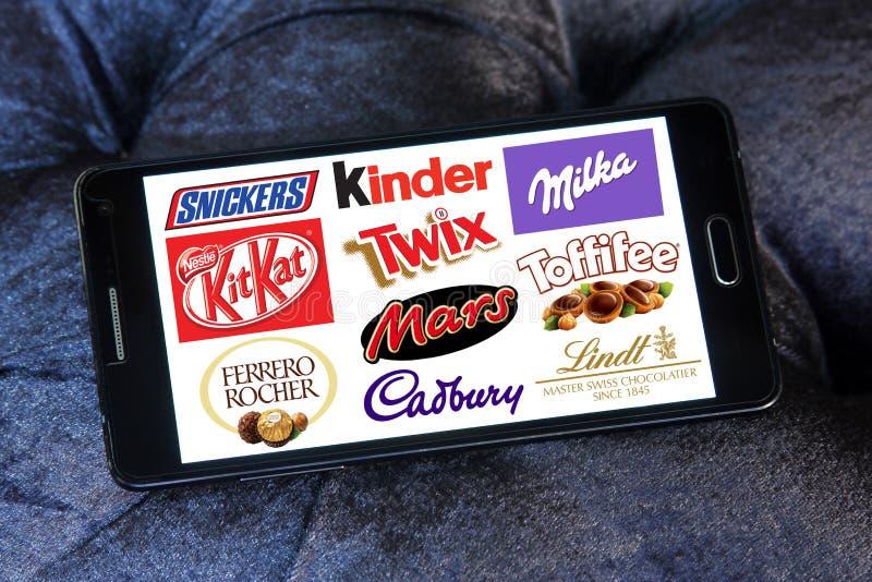 Λογότυπα εικονιδίων σοκολάτας στοκ εικόνες με δικαίωμα ελεύθερης χρήσης