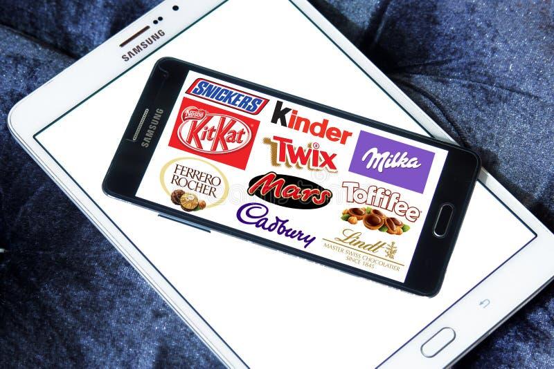 Λογότυπα εικονιδίων σοκολάτας στοκ εικόνες